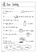 math worksheet : sun safety worksheets kindergarten  worksheets for education : Safety Worksheets For Kindergarten