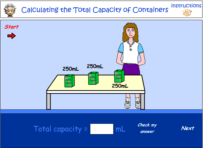 Calculating the total capacity of containers