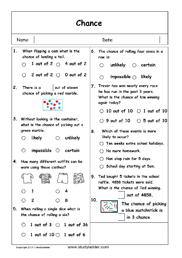 chance worksheets year 7 pdf