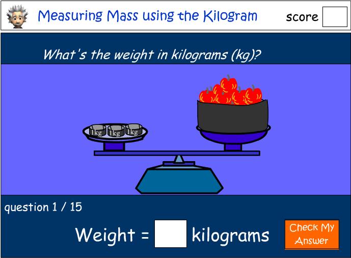 Measuring mass using the kilogram (kg)