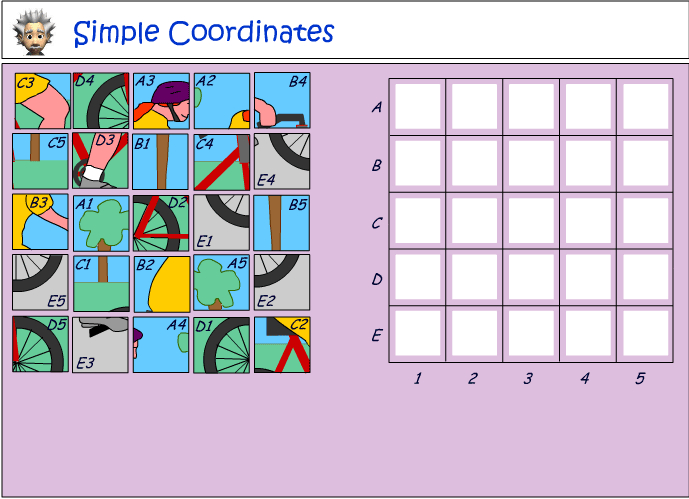 Using simple coordinates to complete a puzzle