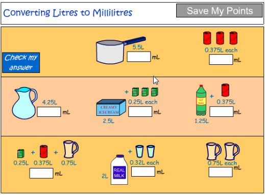 Convert litres to millilitres - includes decimals tutorial