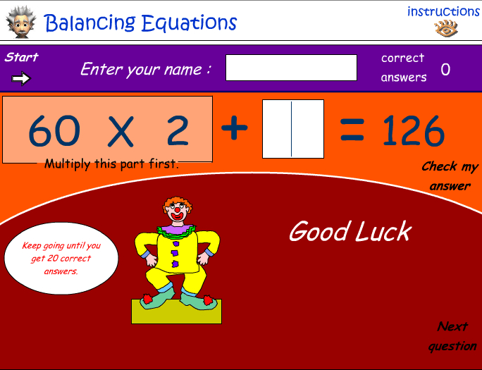 Number relationships - balancing equations