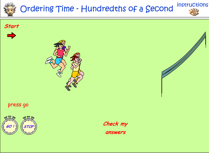 Ordering time - hundredths of a second