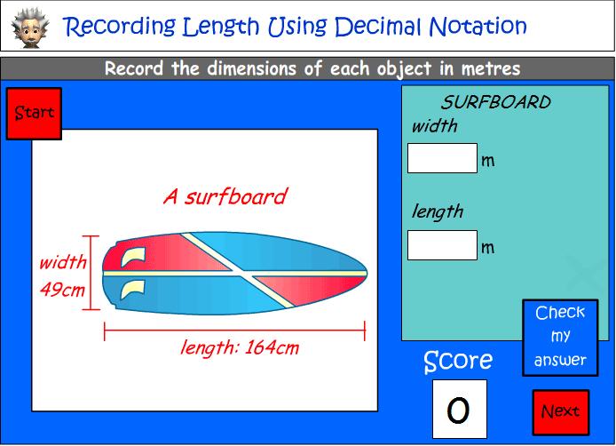 Recording length using decimal notation