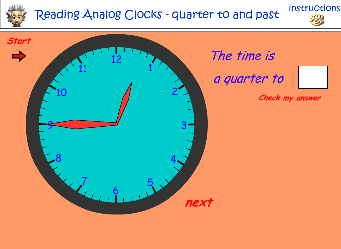 Quarter to and past the hour - analog clocks