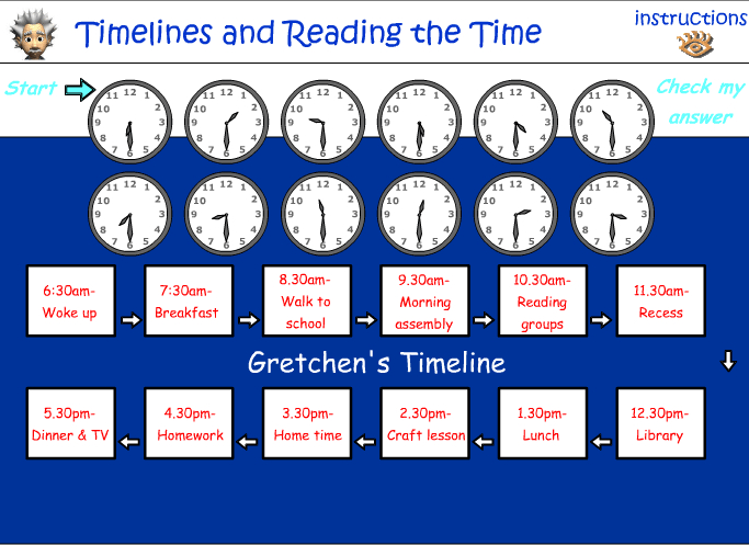 Reading a timeline and reading analog time