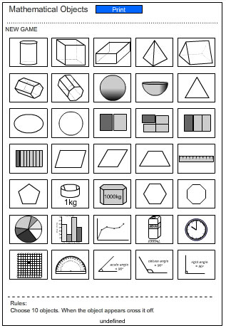 Bingo Game Card - Pictures of Mathematical Objects