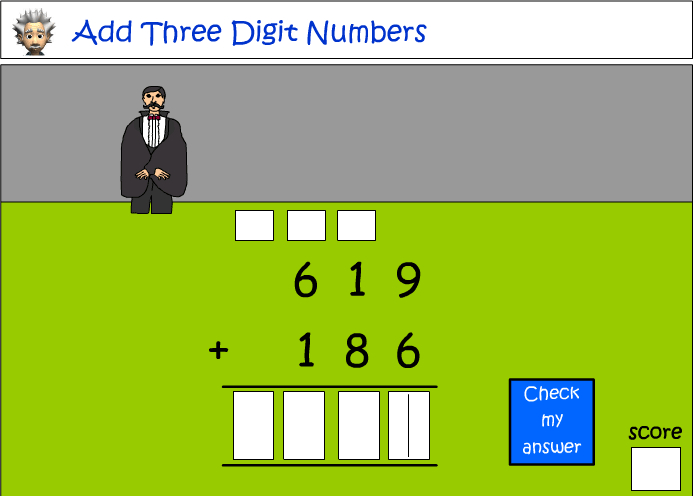 Addition of three digit numbers