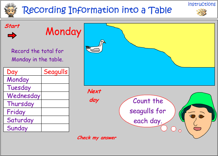 Recording information in a table