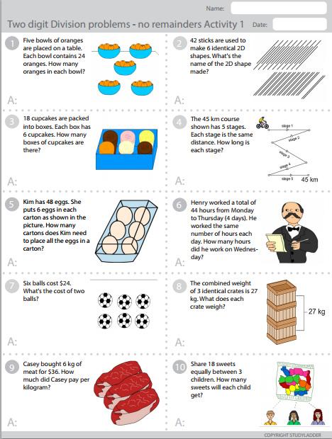 two digit division no remainders studyladder interactive learning games. Black Bedroom Furniture Sets. Home Design Ideas