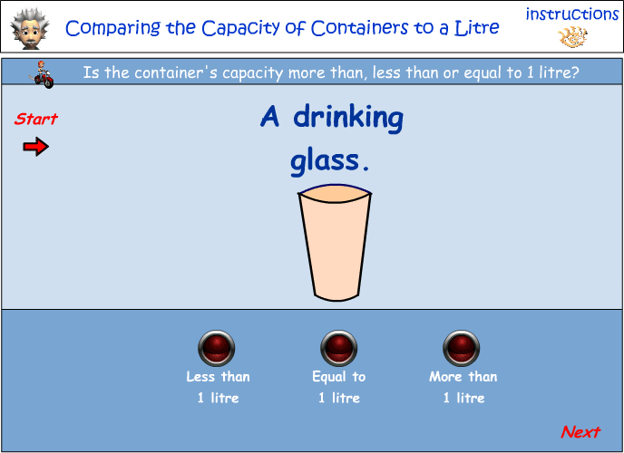 Comparing the capacity of containers to 1 litre