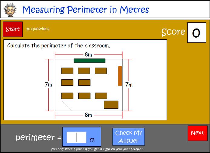 Calculating Perimeter using Metres