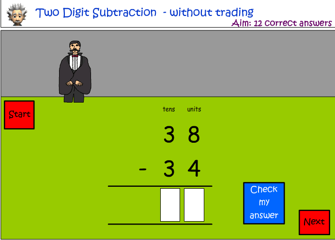 Subtraction - two digit numbers - without trading