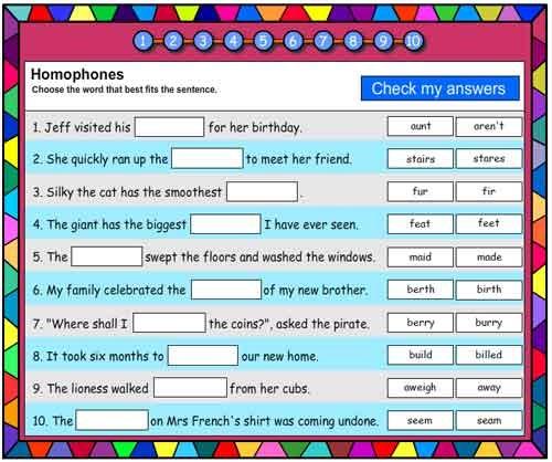 Homophones Vocabulary Builder
