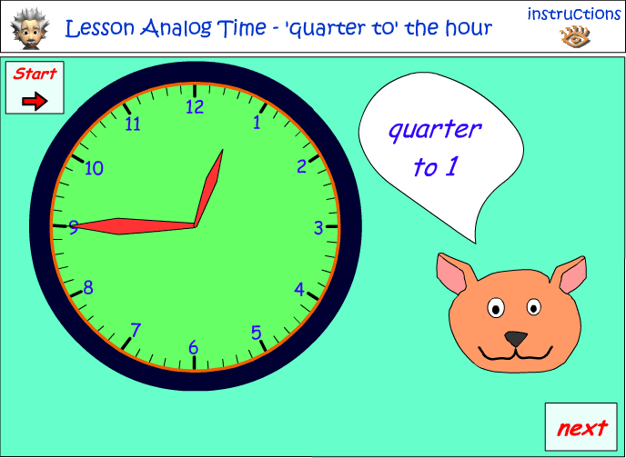 Reading a clock- Quarter past and quarter to the hour - type 2