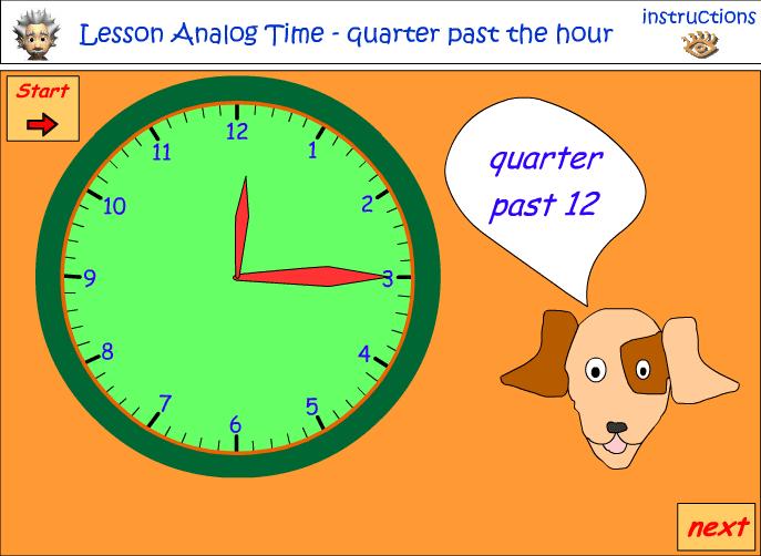 Reading a clock- Quarter past and quarter to the hour