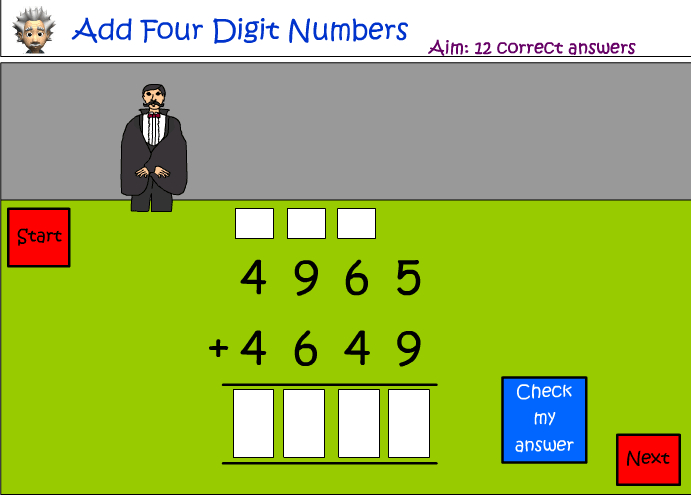 Addition of four digit numbers