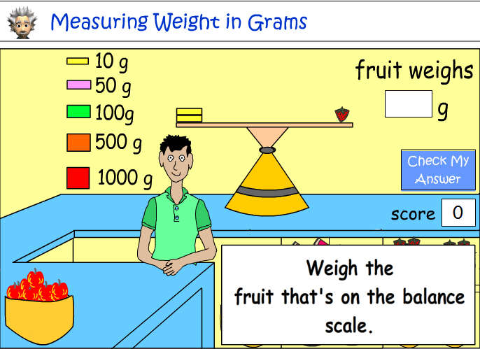 Measuring the weight of fruit in grams (g) -
