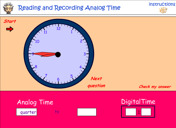 Reading five minute intervals on an analog clock - part 2