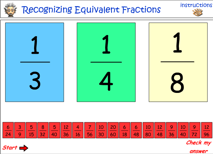 Recognizing equivalent fractions