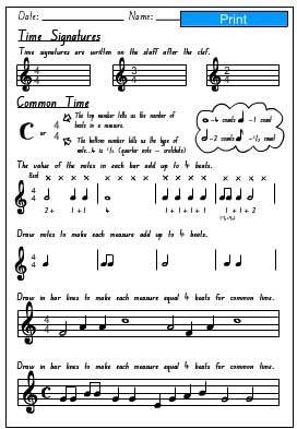 Time Signature Activity Sheet