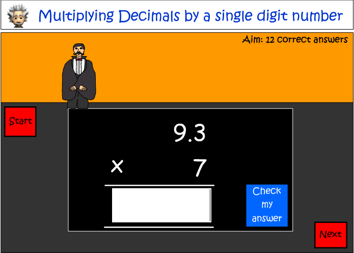 Multiplying decimals by a single digit number