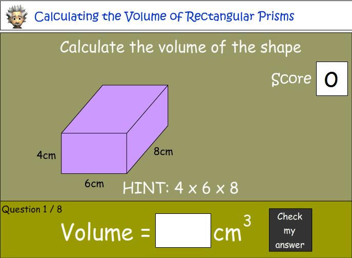 Calculating the volume of rectangular prisms