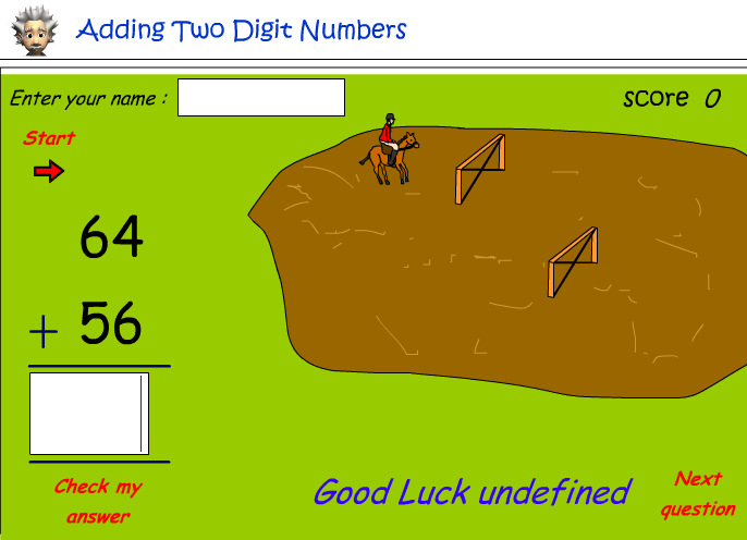 Addition of two digit numbers