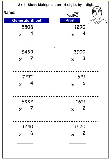 Drill - Multiply 4 digits by 1 digit - written strategies (Auto-generated)