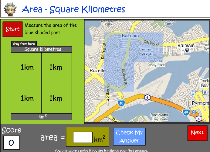 Calculating square kilometres using a scale