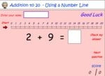 Add single digit numbers using a number line