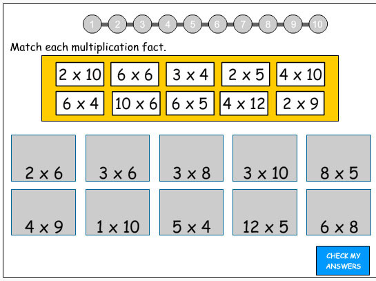 Matching multiplication facts