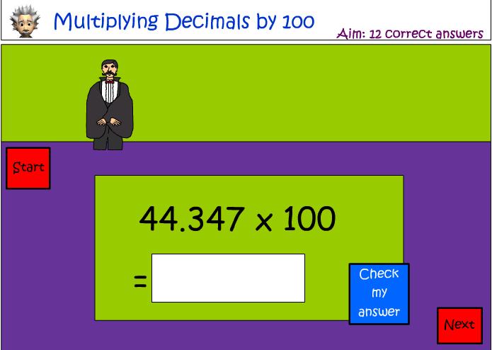Multiplying decimals by 100