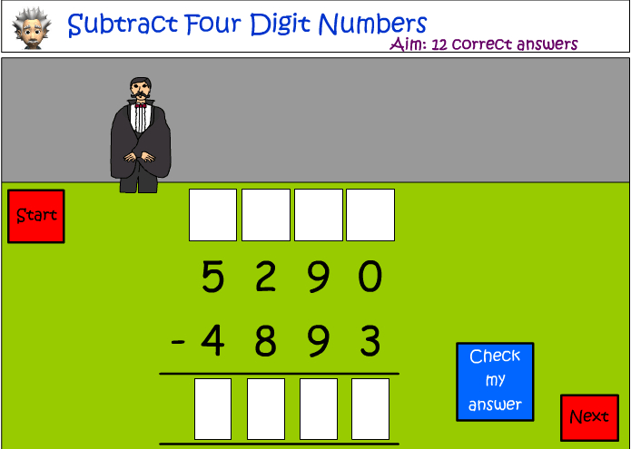 Subtraction of four digit numbers