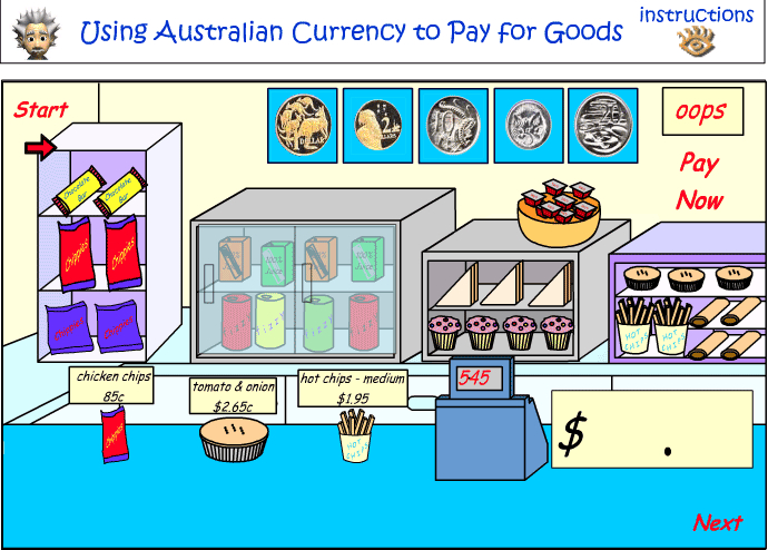 Using coins to pay for goods